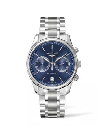 longines master collection 40mm chronograph blue dial