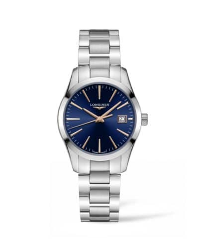 longines conquest classic 34mm blue dial stainless steel