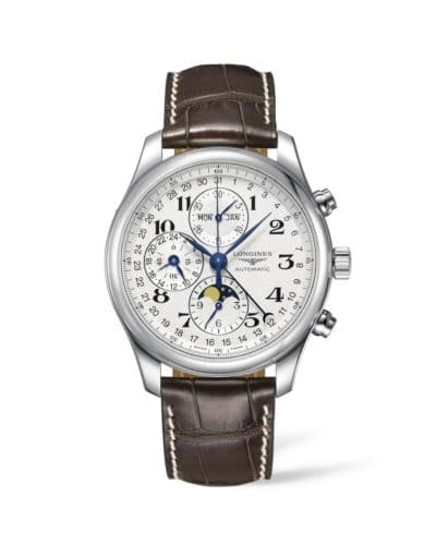longines master collection 40mm chronograph white dial